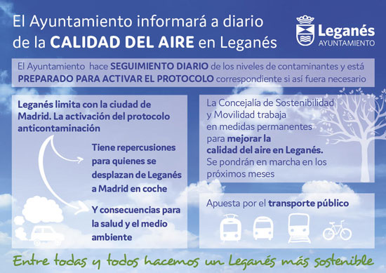 The City of Leganés will report daily on the air quality in the municipality